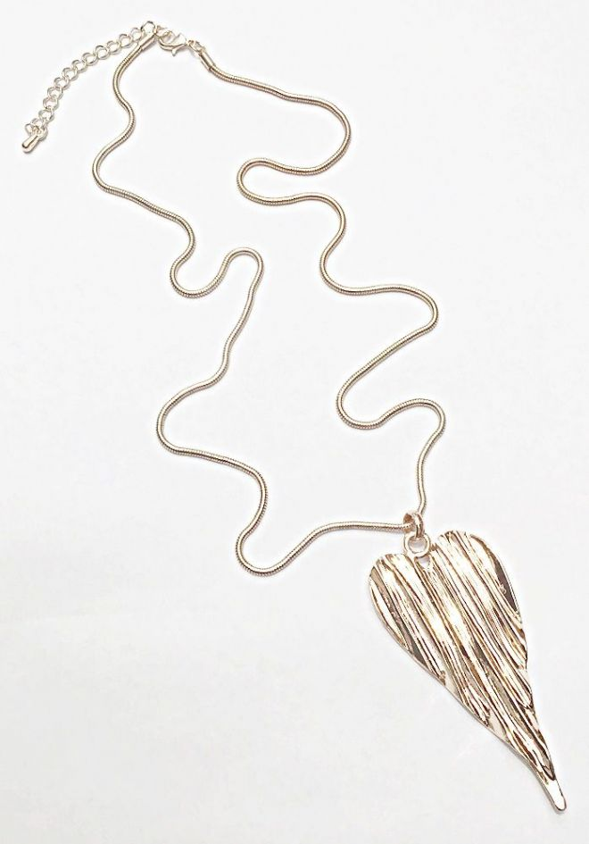 Large Ribbed Heart Long Necklace ~ Rose Gold